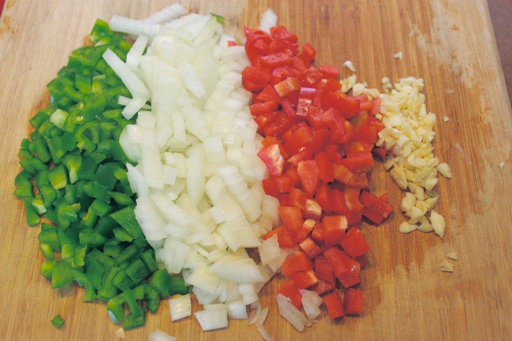 King Ranch Chicken- Green Pepper, Onion, Red Pepper, Garlic