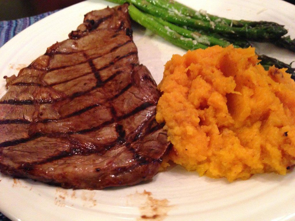 Steak, Butternut Squash and asparagus
