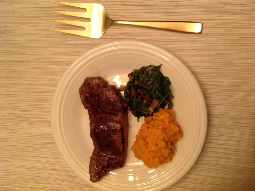Steak with Sweet Potatoes and Spinach