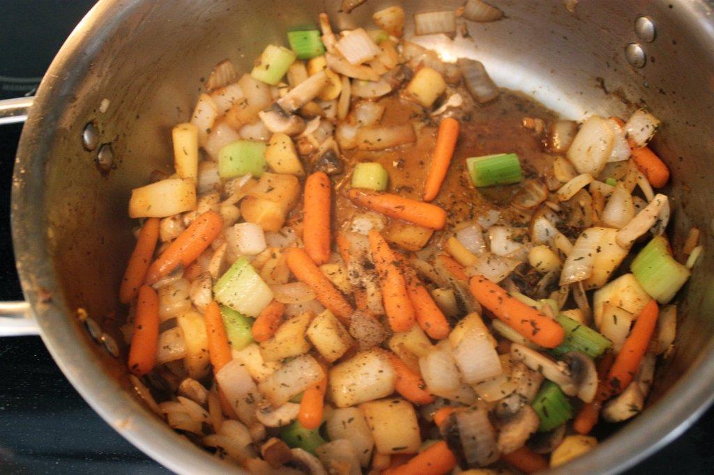 Savory Beef Stew- Browning Vegetables