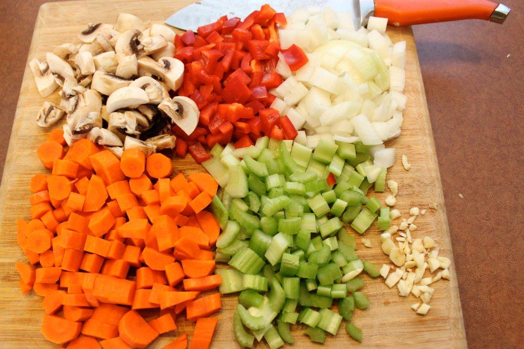 Sweet Potato Cottage Pie- Chopped veggies