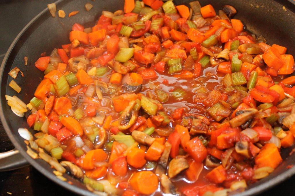 Sweet Potato Cottage Pie- Tomato, worcestershire added