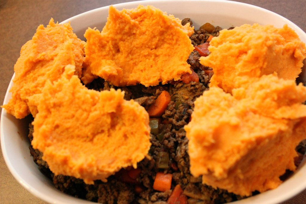 Sweet Potato Cottage Pie- Sweet potato dollops