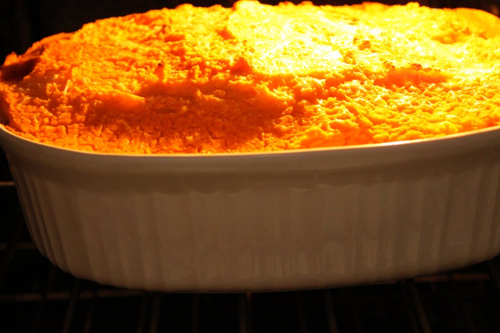 Sweet Potato Cottage Pie- in the oven